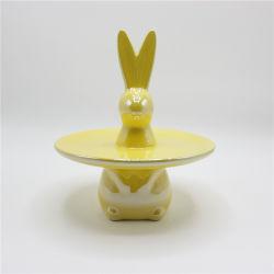 Блестящий желтый керамические пасхальных яиц лоток подарок