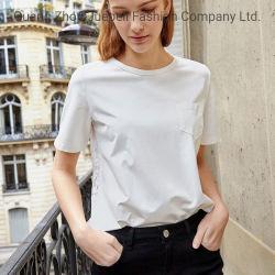 Cotone all'ingrosso dell'OEM della fabbrica con la maglietta del T delle donne dell'indumento delle signore dell'abito di alta qualità dei vestiti del merletto