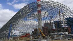 إطار الفضاء الفولاذي الجملون هيكل الإطار الفضائي الفولاذي الطاقة المصنع الإطار الفضائي مشروع التسقيف 140 متر