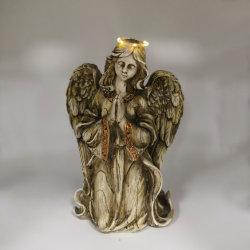 Venda por figuras de jardim de resina Anjo Solar LED de luz da grave da estátua de paz com luz para cima