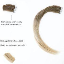 """El pelo estilo caliente de salón 14""""-22"""" directamente de la piel Europea trama P18/613# Cinta de doble cara con Remy 100% Brasileña de India Malasia las extensiones de cabello humano."""