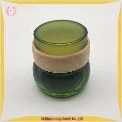 Bol en verre ambré avec couvercle Water-Transfer l'impression et de bambou
