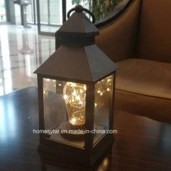 De Lantaarn van het glas met LEIDENE Zonder vlammen Lamp in Geel die Licht door Batterij 3AAA in werking wordt gesteld