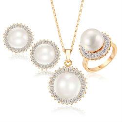 14K Gold jóias com diamantes pérola de água doce natural definido