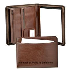 Un zip4 Brown PU Dossier de fichier d'affaires Compendium en cuir