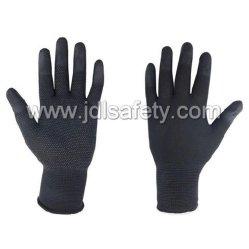 PU PVC小型点が付いている上塗を施してある黒い作業手袋を働かせるDIYの産業安全