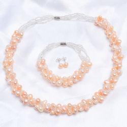 淡水の真珠の宝石類は女性のためのネックレスのイヤリングのブレスレットの宝石類セットをセットする
