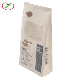 커피 서류상 플라스틱은 편평한 바닥 Windows를 가진 주머니 포장을 위로 서 있다