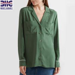 パジャマは標準的な女性のばねのブラウスが100%の女性のための絹の偶然のワイシャツの方法上を洗浄した最新のデザインのスタイルを作る