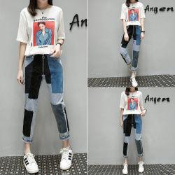 2018 пружину асимметрия патч проводов джинсы женщина джинсы с поясом на резинке по прямой Джинсовые брюки дамы повседневный джинсы для женщин высокого качества одежда мода одежды