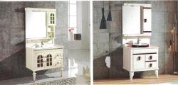 Diseño moderno cuarto de baño utiliza Sairi PVC la vanidad de baño armarios de lavabo con espejo