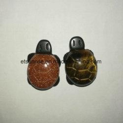 Pierre gemme en cristal normale tortue de deux couches découpant la sculpture