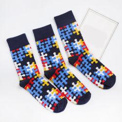 Moda grossista Hellosports unissexo coloridos Mens 100% algodão colorido padrão feliz meias Jacquard