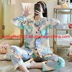 In het groot Lange Katoenen van de Koker Vrouwen Nachtkleding van de Zomer van de Lente van de Douane van de Pyjama de Vastgestelde Koele Leuke Vrouwelijke Dame Pyjama