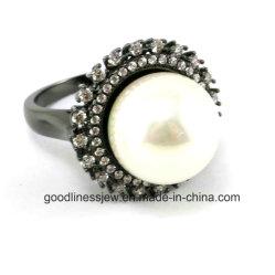 Jóias de pérola elegante com AAA CZ Ring jóias de Ouro Preto e ródio 925 Libra Esterlina jóias de prata (R10178)