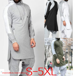 Men's Pathani Kurta Hoodieshirt Plus Size Indian Kurta robe avec Salwar Vêtements musulmane