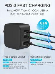 USB-C pd Gantechnology 65W de charge rapide de Mini chargeur mural