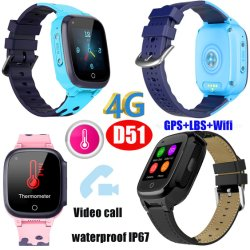 4G IP67는 글로벌 영상 외침을%s 가진 온도계 GPS 추적자 시계 전화를 방수 처리한다