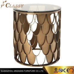 رفاهية حديثة مستديرة زجاجيّة جانب طاولة مع معدن قاعدة