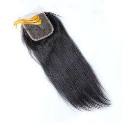 El cabello humano 100 Toupee cierre encaje pelo virgen