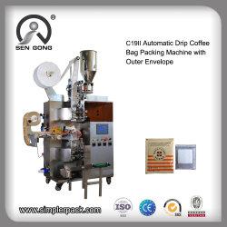 Commerce de gros sac de café au goutte à goutte pochette de l'emballage de la machine avec enveloppe extérieure