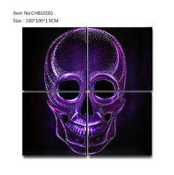 L'huile en métal brillant violet crâne peinture 3D Art Déco murale d'artisanat