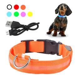Artículos para mascotas recargables USB LED Perro Mascota Collar de brillantes destellos luminosos exteriores Collar de Perro Collar de seguridad de caminar de noche