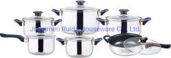 Heißer EdelstahlCookwaregesetzter Cookware des Verkaufs-neuer Art-Griff-12PCS mit verschiedenen Arten der Griffe