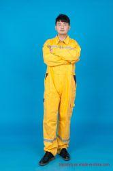 100%年綿のProbanの炎-反射テープが付いている抑制安全仕事着の