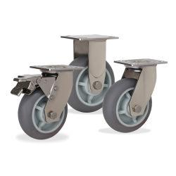 그레이 TPR 둥근 스위블 브레이크 쇼핑 트롤리 중부하 작업용 스테인리스 강철 폴리우레탄 휠 캐스터