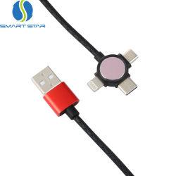 Hot Sale le logo OEM de charge rapide de cuir 3 en 1 câble de chargement USB escamotable