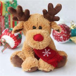 Neues Weihnachtsmoose Hirsch Plüsch Spielzeug mit rotem Schal Sticker Logo Custom Hübsch Gestopft Tier Elch Weiches Spielzeug Plüsch Rentier Weihnachten