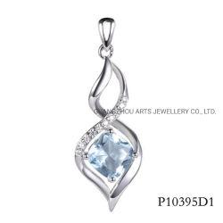 Pendente a forma di quadrato di infinità dell'argento sterlina della pietra blu