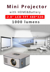 La Micro Pequeña casa al aire libre de bolsillo LED LCD Pico Mobile Batería Recargable Mini proyector portátil SD40 para Smart Phone