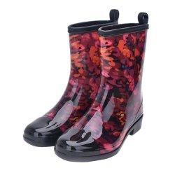 Scarpe con tacco corto personalizzato con stampa personalizzata Women PVC Rain Stivali per una facile pulizia