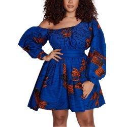 트렌디한 최고의 아프리카 프린트 벨트 캐주얼 프로 드레스