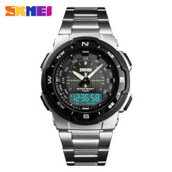 Skmei 1370 스테인리스 결박 Mens 시계 기초시계 크로노그래프 방수 손목 시계