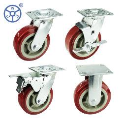 4 5 6 8 pollici PVC/PU plastica PP industriale per impieghi pesanti Ruota fonica con piastra girevole interna e freno per carrello