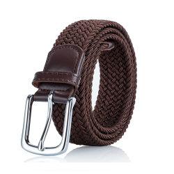 Herren Braun Schwarz Verstellbare Geflochtene Stretch Leder Wrap End Spitze Elastischer Stretch-Gürtel