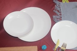 Factory Hotel Ware Branco Porcelana Cerâmica Jantar Set Dinnerware Forma Lua redonda