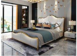 Europa Style Quarto italiano conjunto de móveis modernos de luxo Cama King Size desenhos tecido duplo cama macia