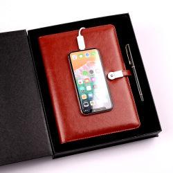 Оптовая торговля Weiyi 10000mAh банка питания A5 дневник для ноутбука из натуральной кожи с 8g U диск