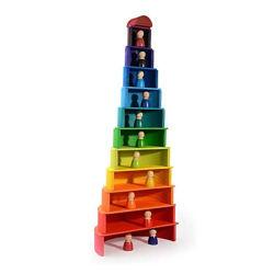虹の構築の建物は子供の版れんが23 PCSをもてあそぶ
