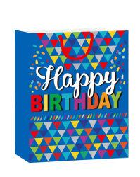 Aniversário coloridos de papel reciclável saco/sacos de compras com pega