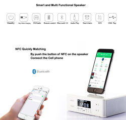 Reloj Despertador Escritorio combinar altavoz Bluetooth Radio FM Alarma dual Dual USB Snooze de rotación de 3 en 1 I Phone y Android suele usar la energía de base de carga