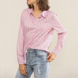 مكتب نمط [ديجتل] طبعة أطلس نساء قميص