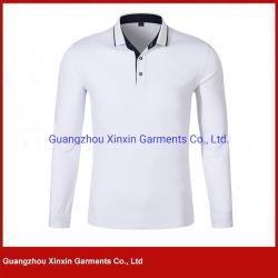 Kundenspezifischer Polo-Hemd-Entwurfs-langes Hülsen-Leerzeichen-Farbemens-Polo-T-Shirt für Golf-Sport-Abnützung (P436)