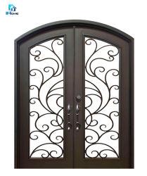 中国の製造者の複式記入の錬鉄の複式記入のドアのガラス窓の前ドア
