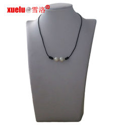 11-12mm redondo Collar de cuero de perlas de agua dulce regalo barato