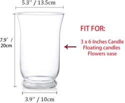 حاملات الشمعة ذات العمود الزجاجي للمشمعة مقاس 3 × 6 بوصة